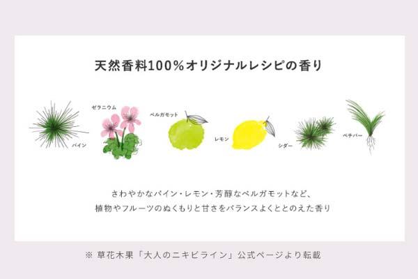 草花木果のHP「大人のニキビライン」の香りについて