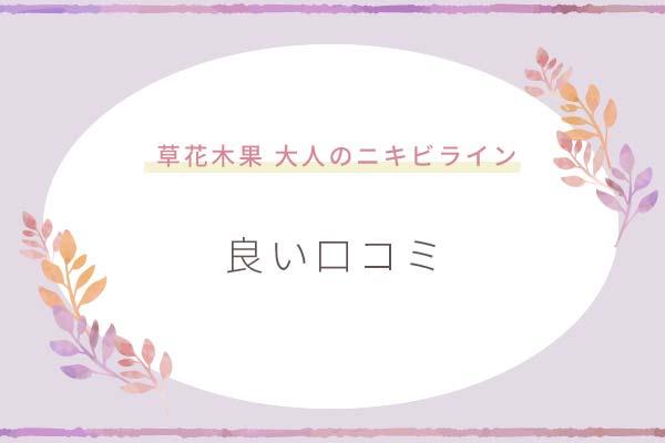 草花木果「大人のニキビライン」良い口コミ